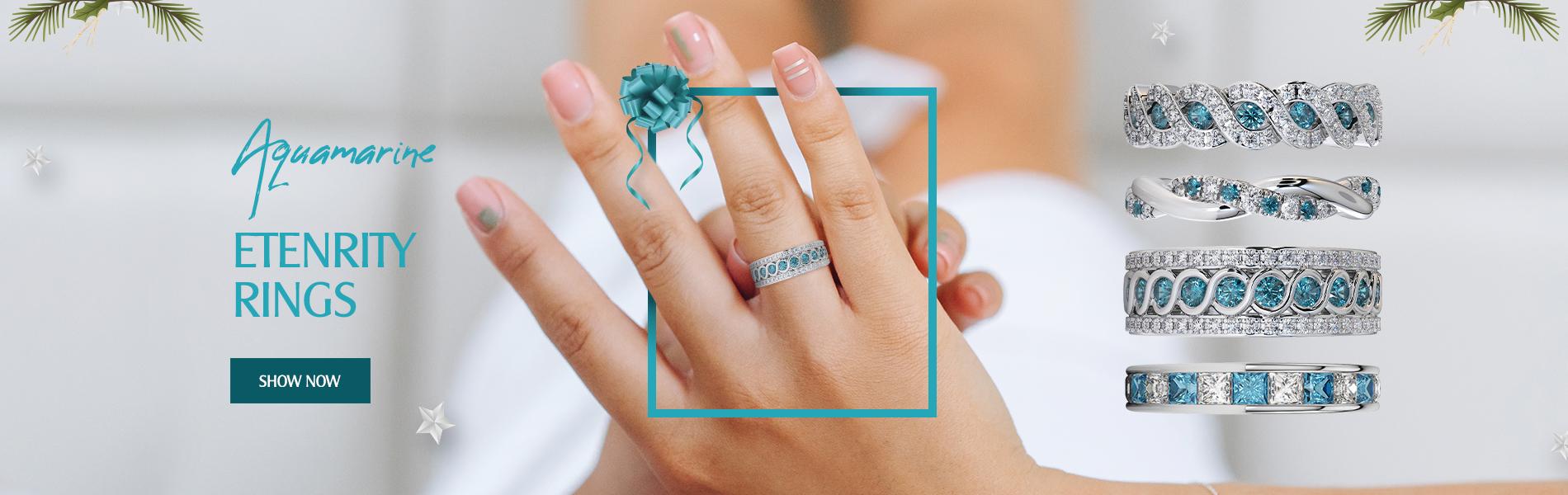 Aquamarine Eternity Ring
